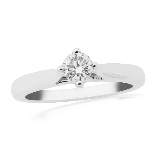 Solitaire Single Stone Four Claw Engagement Ring White Gold 33 Points